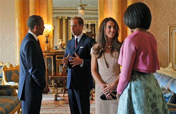 "<div class=""meta ""><span class=""caption-text "">U.S. President Barack Obama, left, and first lady Michelle Obama, right, meet with Britain's Prince William and the Duchess of Cambridge, second right, at Buckingham Palace in London, Tuesday, May 24, 2011. (AP Photo/Charles Dharapak, Pool)</span></div>"