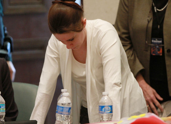 "<div class=""meta image-caption""><div class=""origin-logo origin-image ""><span></span></div><span class=""caption-text"">Casey Anthony reacts to evidence photos showing the skeletal remains of her daughter Caylee Anthony shown during her trial at the Orange County Courthouse, Thursday, June 9, 2011 in Orlando, Fla. Anthony, 25, is charged with killing her daughter Caylee in the summer of 2008. (AP Photo/Joe Burbank, Pool) (AP Photo/ Joe Burbank)</span></div>"