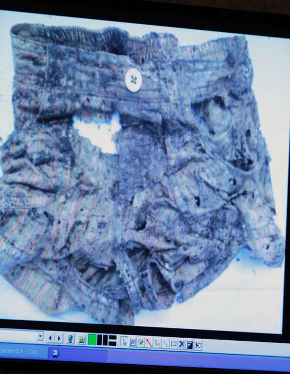 An image displayed on a courtroom monitor shows a photo entered into evidence in the Casey Anthony trial at the Orange County Courthouse on Friday, June 10, 2011. This photo shows a child&#39;s short pants. Anthony, 25, is charged with killing her daughter Caylee in the summer of 2008. &#40;AP Photo&#47;Joe Burbank, Pool&#41; <span class=meta>(AP Photo&#47; Joe Burbank)</span>