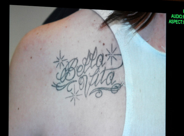 "<div class=""meta image-caption""><div class=""origin-logo origin-image ""><span></span></div><span class=""caption-text"">A photograph of a tattoo that Casey Anthony received by tattoo artist Booby Williams while her daughter Caylee was reported missing is displayed on a monitor after being entered into evidence during day 18 of the Casey Anthony murder trial at the Orange County Courthouse, in Orlando, Fla., Tuesday, June 14, 2011. Anthony, 25, is charged with killing her 2-year old daughter in 2008.(AP Photo/Red Huber, Pool)</span></div>"