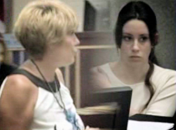 "In this still image from video, Cindy Anthony is seen mouthing the words ""I love you"" to Casey Anthony.  Casey Anthony appears to shrug off the gesture."