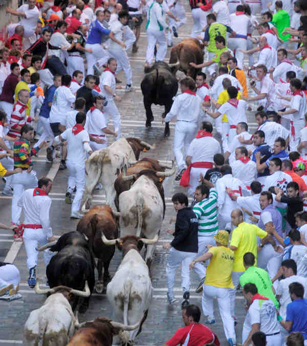 Revelers run in front of a El Pilar ranch fighting bulls during the San Fermin fiestas in Pamplona, Spain, Tuesday 13, 2010. &#40;AP Photo&#47;Manu Fernandez&#41; <span class=meta>(AP Photo&#47;Manu Fernandez)</span>