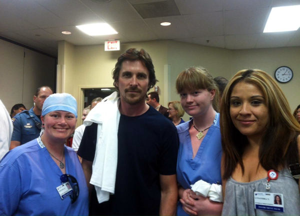 "<div class=""meta image-caption""><div class=""origin-logo origin-image ""><span></span></div><span class=""caption-text"">In this photo provided by Swedish Medical Center, actor Christian Bale, second left, poses with Swedish Medical Center staff at The Medical Center of Aurora, Colo. Tuesday, July 24, 2012.  (AP Photo/Swedish Medical Center)</span></div>"