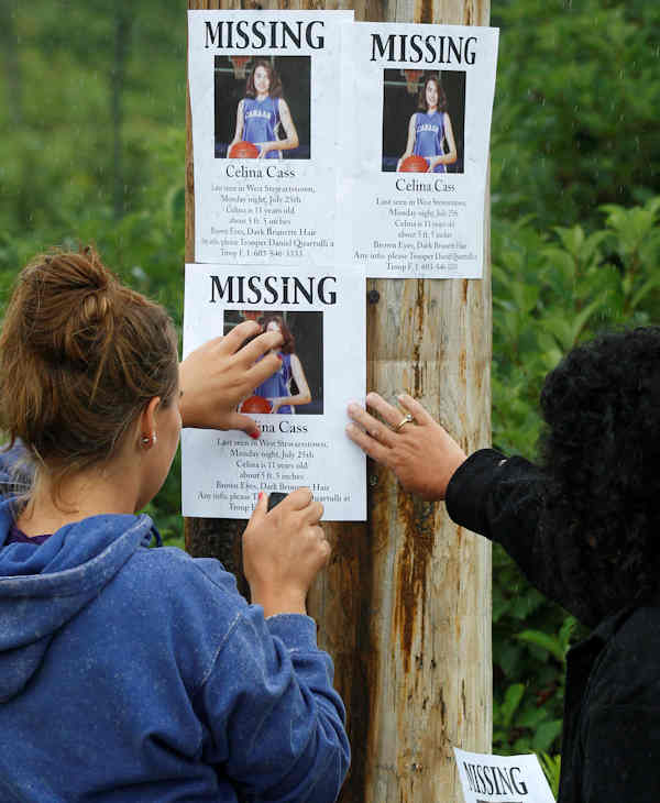 "<div class=""meta image-caption""><div class=""origin-logo origin-image ""><span></span></div><span class=""caption-text"">Lori McKearney, of Lancaster, N.H., right, and Kaylin Pettit, of Stewartstown, N.H., post missing posters for 11-year-old Celina Cass in Colebrook, N.H., Wednesday, July 28, 2011. Cass has been reported missing since she was last seen at her home on Monday evening. McKearney is Celina Cass's aunt. (AP Photo/Charles Krupa)</span></div>"