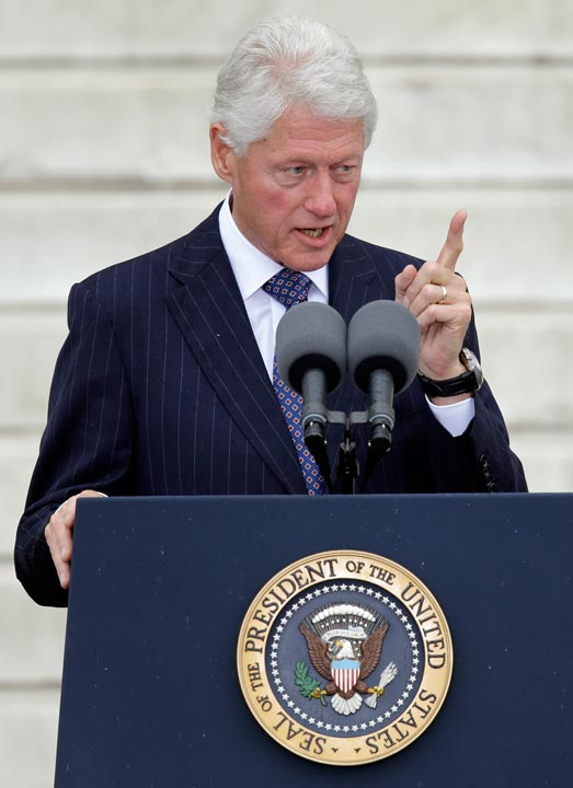 "<div class=""meta ""><span class=""caption-text "">Former President Bill Clinton speaks at the Let Freedom Ring ceremony at the Lincoln Memorial in Washington, Wednesday, Aug. 28, 2013, to commemorate the 50th anniversary of the 1963 March on Washington for Jobs and Freedom. It was 50 years ago today when Martin Luther King Jr. delivered his ""I Have a Dream"" speech from the steps of the memorial. (AP Photo/Carolyn Kaster)  </span></div>"