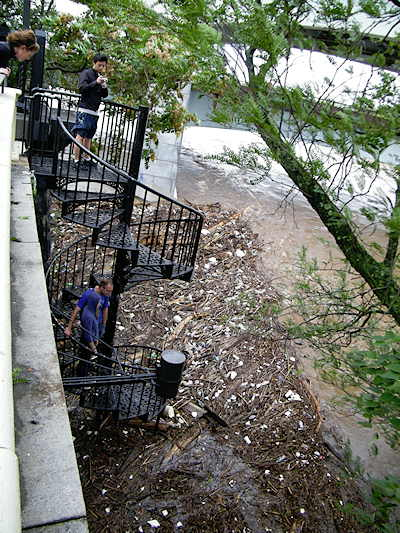 Some of the debris that washed up from the Schuylkill River behind the Philadephia Museum of Art Sunday morning, following Hurricane Irene. The Waterworks restaurant was flooded by waters.