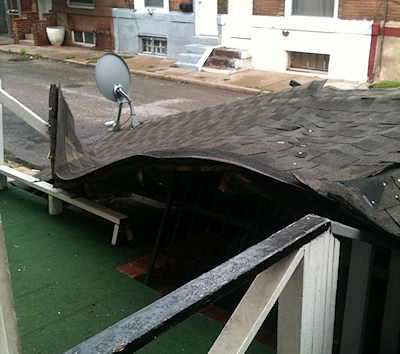 A viewer submitted this photo after high winds during Hurricane Irene blew the roof off her home in Philadelphia.