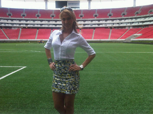 "Ines Sainz, a sports reporter for Mexico's TV Azteca, posted on her Twitter account Saturday that she felt ""very uncomfortable!"" in the Jets' locker room. Several players were allegedly catcalling her as she waited to interview quarterback Mark Sanchez, who is of Mexican descent. Image posted on Ines Sainz twitter account."