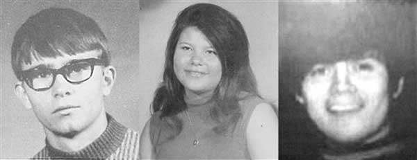 In this combination photo provided by the Beckham County, Okla., Sheriff's Department shows three teens missing from Sayre, Okla., since Nov. 20, 1970. From left are Jimmy Allen Williams, Leah Gail Johnson and Thomas Michael Rios. Police believe they may finally have found the remains of the teens after divers on a training exercise discovered a car containing skeletal remains in Foss Lake. (AP Photo/Beckham County Sherrif's Departmemt via the Sayre Record)