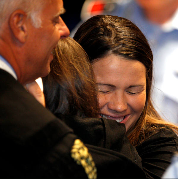 "<div class=""meta ""><span class=""caption-text "">Italian lawyer lawyer Maria Del Grosso, right, hugs Amanda Knox after the verdict that overturns her conviction and acquits her of murdering her British roommate Meredith Kercher, at the Perugia court, central Italy, Monday, Oct. 3, 2011. (AP Photo/Pier Paolo Cito)</span></div>"
