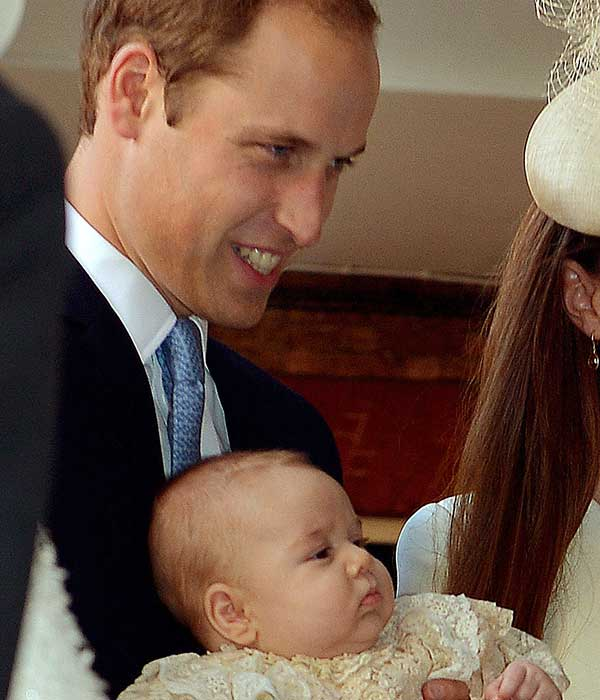 Britain&#39;s Prince William, holds his son Prince George as they arrive at the Chapel Royal in St James&#39;s Palace in London, for the christening of the three month-old Prince Wednesday Oct. 23, 2013. The 3-month-old future monarch, Prince George will be christened Wednesday with water from the River Jordan at a rare four-generation gathering of the royal family in London. <span class=meta>(AP Photo&#47;John Stillwell&#47;Pool)</span>