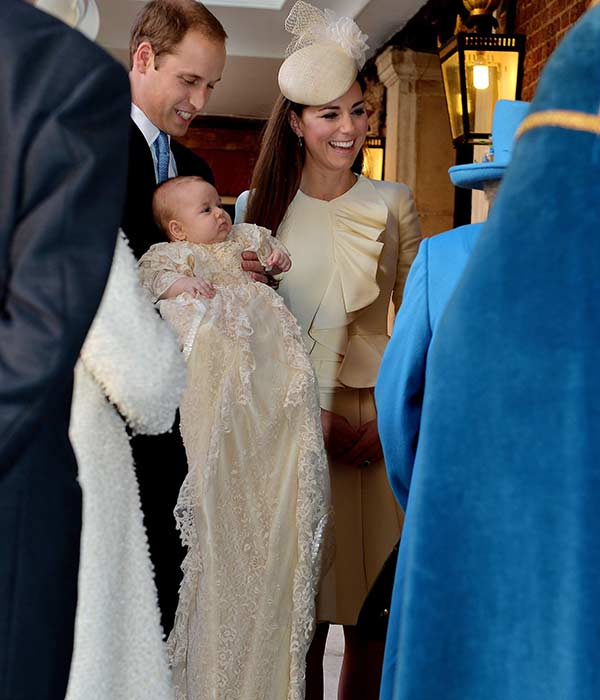Britain&#39;s Prince William, Kate Duchess of Cambridge with their son Prince George arrive at Chapel Royal in St James&#39;s Palace in London, for the christening of the three month-old Prince George, Wednesday Oct. 23, 2013.  <span class=meta>(AP Photo&#47;John Stillwell&#47;Pool)</span>