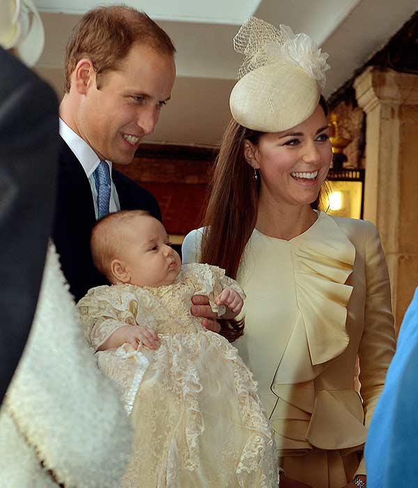 "<div class=""meta image-caption""><div class=""origin-logo origin-image ""><span></span></div><span class=""caption-text"">Britain's Prince William, Kate Duchess of Cambridge with their son Prince George arrive at the Chapel Royal in St James's Palace in London, for the christening of the three month-old Prince George, Wednesday Oct. 23, 2013. The 3-month-old future monarch, Prince George will be christened Wednesday with water from the River Jordan at a rare four-generation gathering of the royal family in London.  (AP Photo/John Stillwell/Pool)</span></div>"
