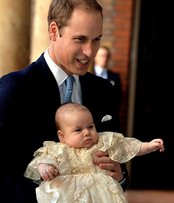 "<div class=""meta ""><span class=""caption-text "">Britain's Prince William, holds his son Prince George as they arrive at Chapel Royal in St James's Palace in London, for the christening of the three month-old Prince Wednesday Oct. 23, 2013.  (AP Photo/John Stillwell/Pool)</span></div>"