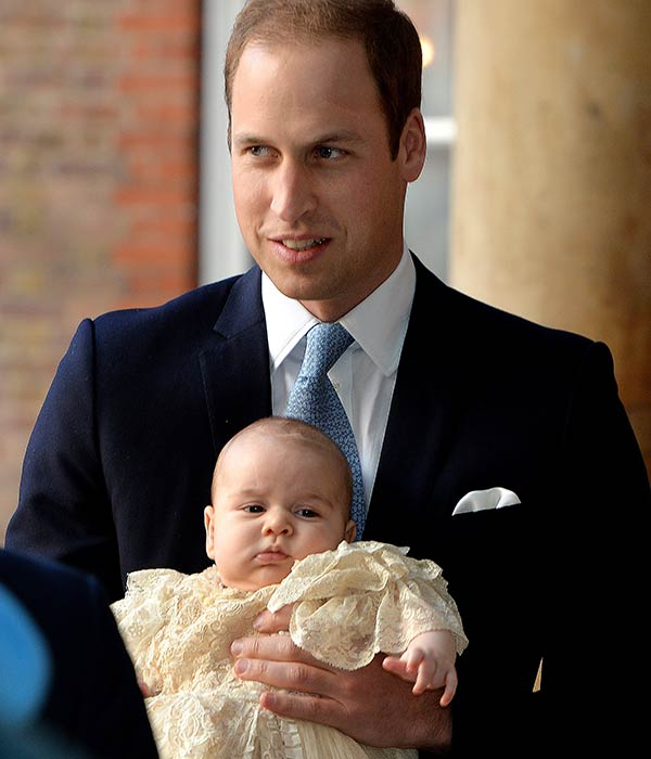 Britain&#39;s Prince William, holds his son Prince George as they arrive at Chapel Royal in St James&#39;s Palace in London, for the christening of the three month-old Prince Wednesday Oct. 23, 2013.  <span class=meta>(AP Photo&#47;John Stillwell&#47;Pool)</span>