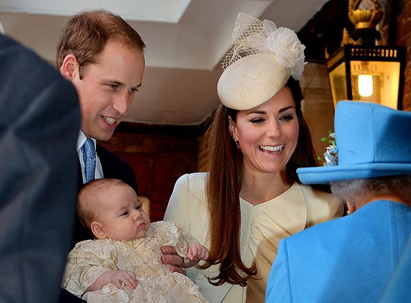 Britain&#39;s Queen Elizabeth II, right, speaks with Prince William and Kate Duchess of Cambridge as they arrive with their son Prince George at the Chapel Royal in St James&#39;s Palace, Wednesday Oct. 23, 2013. Britain&#39;s 3-month-old future monarch, Prince George will be christened Wednesday with water from the River Jordan at a rare four-generation gathering of the royal family in London.  <span class=meta>(AP Photo&#47;John Stillwell&#47;Pool)</span>