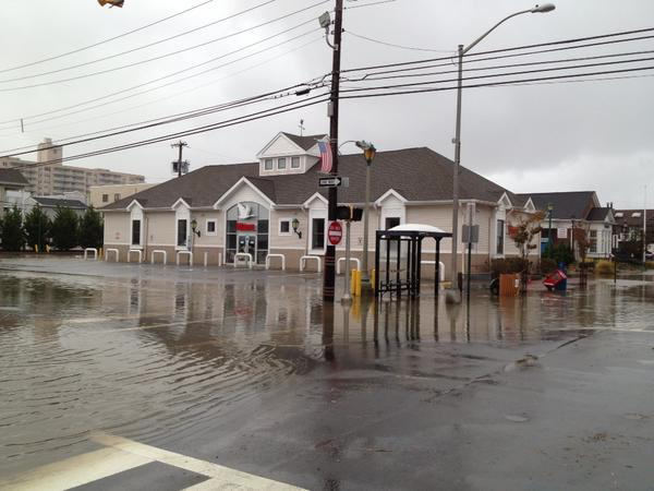 Water surrounds this Wawa convenience store in Margate, New Jersey.