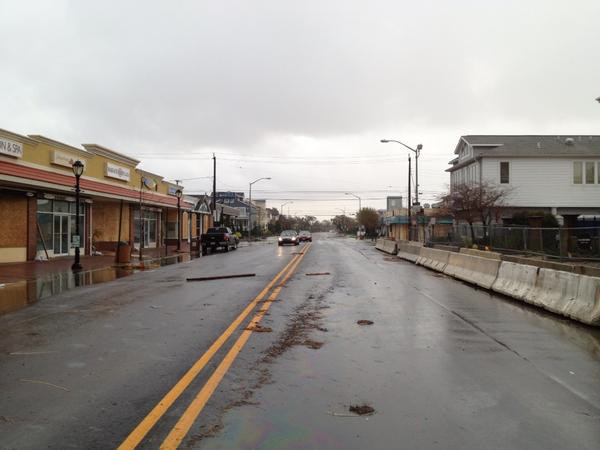 By Tuesday morning flood waters had begun to recede from streets in downtown Margate, New Jersey.