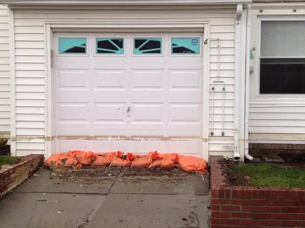 The water line from flooding brought on by Hurricane Sandy still evident on this home in Longport, New Jersey.