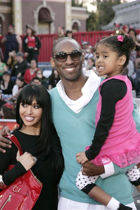 Kobe Bryant, center, his wife, Vanessa, left, and daughter, Natalia, arrive at the premiere for &#34;Pirates of the Caribbean: At World&#39;s End&#34; in Anaheim, Calif., Saturday, May 19, 2007.  <span class=meta>(AP Photo&#47;Matt Sayles)</span>