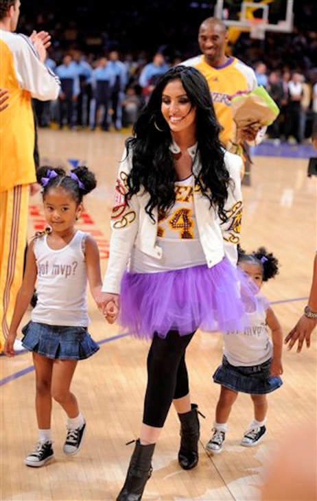 In this May 7, 2008, file photo, Vanessa Bryant, wife of Los Angeles Lakers guard Kobe Bryant, walks with their daughters Natalia Diamante, 5, left, and Gianna Maria-Onore, 3, after Bryant, top, received the NBA&#39;s Most Valuable Player trophy before Game 2 in an NBA Western Conference semifinal playoff basketball series against the Utah Jazz at the Staples Center in Los Angeles.  <span class=meta>(AP Photo&#47;Mark J. Terrill)</span>