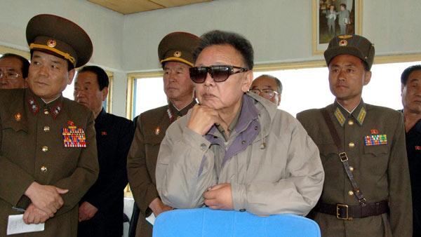 In this undated file photo released by Korean Central News Agency via Korea News Service in Tokyo on Friday, May 22, 2009, North Korean leader Kim Jong Il watches flight training as he inspects the Korean Peoples Army Air Force Unit 814 at unknown location in North Korea.