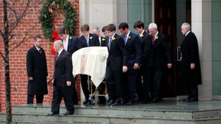 Pallbearers carry the casket containing the body of Elizabeth Edwards following funeral services at Edenton Street United Methodist Church in Raleigh, N.C., Saturday, Dec. 11, 2010. Edwards died Tuesday of cancer at the age of 61. (AP Photo/Jim R. Bounds)