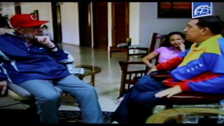In this frame grab taken from video shown on Cuban state television, Cubas Fidel Castro, left, speaks with Venezuelas President Hugo Chavez in an unknown location in Havana, Cuba, Tuesday June 28, 2011. Chavez underwent surgery in Cuba two weeks ago and has been unusually quiet since then. Allies of Chavez have insisted the leader is firmly in control of the country and improving from his operation for a pelvic abscess. (AP Photo/Cuban state television)