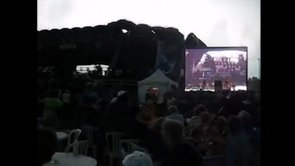 Stage collapse caught on tape