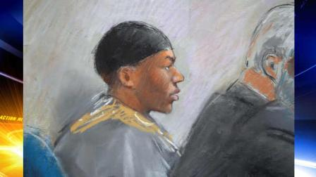 In this courtroom drawing, Umar Farouk Abdulmutallab appears in U.S. District Judge Nancy Edmunds courtroom Tuesday, Oct. 11, 2011, in Detroit. Opening arguments in the trial of the Nigerian man accused of trying to bring down a jetliner with a bomb in his underwear were heard Tuesday.