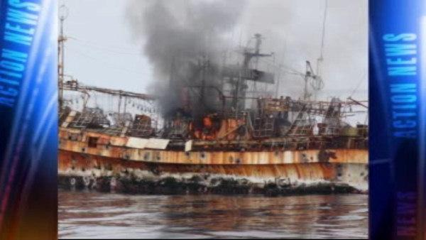 Coast Guard sinks Japanese ghost ship