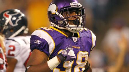 Minnesota Vikings running back Caleb King reacts after scoring a touchdown during the second half of an NFL preseason football game against the Houston Texans Thursday, Sept. 1, 2011, in Minneapolis. (AP Photo/Andy King)