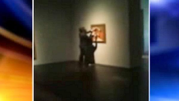 Man caught on camera vandalizing a Picasso