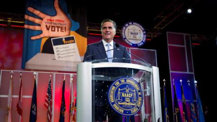 Republican presidential candidate, former Massachusetts Gov. Mitt Romney speaks before the NAACP annual convention, Wednesday, July 11, 2012, in Houston, Texas. (AP Photo/Evan Vucci)