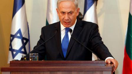 FILE - In this Sept. 11, 2012, photo, Israeli Prime Minister Benjamin Netanyahu speaks during a joint press conference with his Bulgarian counterpart Boyko Borissov, not seen, in Jerusalem. Netanyahu is making a direct appeal to U.S. voters to elect a president willing to draw a red line with Iran. Netanyahu on Sunday, Sept. 16, 2012, used this weeks focus on unrest across the Muslim world to warn Americans watching two Sunday talk shows that time is running out to confront Tehran on its nuclear program. It was an impassioned election-season plea for a world leader who insists he doesnt want to insert himself into U.S. politics. (AP Photo/Gali Tibbon, Pool)