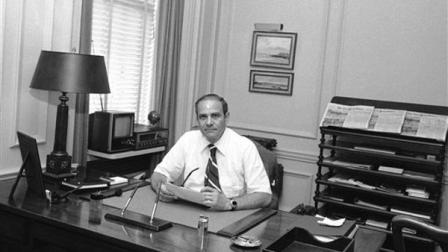 FILE - This July 20, 1977 file photo shows New York Times publisher Arthur Ochs Sulzberger in his office in New York. Sulzberger has died at age 86. The newspaper reports that his family says Sulzberger died Saturday, Sept. 29, 2012, at his home in Southampton, N.Y., after a long illness. He had retired in 1992 after three decades at the papers helm and was succeeded by his son, Arthur Jr. (AP Photo/Ray Howard, File)