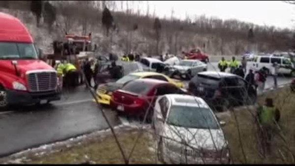 Scores of vehicles snared in Ohio highway pileups