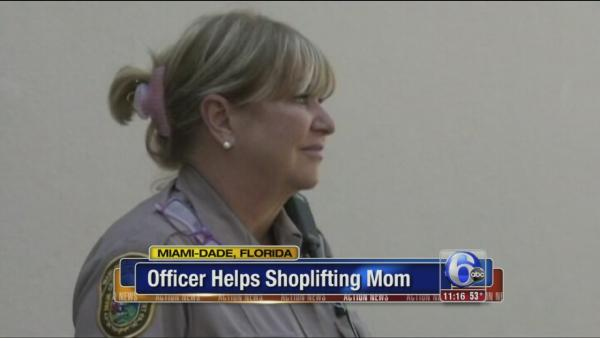 Officer helps shoplifting mom
