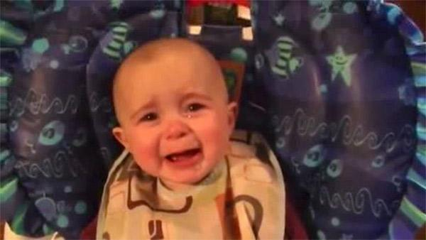 Baby becomes emotional as mother sings
