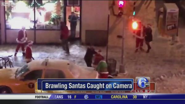 Brawling Santas caught on camera in Manhattan