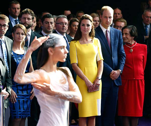 "<div class=""meta image-caption""><div class=""origin-logo origin-image ""><span></span></div><span class=""caption-text"">Britain's Prince William, second from right at front, and his wife Kate, the Duchess of Cambridge, center, watch an Aboriginal welcome performance during a reception at the Sydney Opera House Wednesday, April 16, 2014. The royal couple, along with their son Prince George, are on a 10-day official visit. (AP Photo/Jason Reed, Pool)</span></div>"