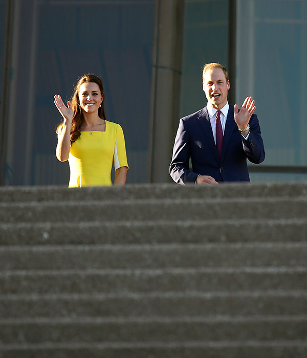 "<div class=""meta image-caption""><div class=""origin-logo origin-image ""><span></span></div><span class=""caption-text"">Britain's Prince William, right, and his wife, Kate, the Duchess of Cambridge, walk down the steps at the Sydney Opera House following a reception after their arrival in Sydney, Wednesday, April 16, 2014. The royal couple, along with their son Prince George, are on a 10-day official visit. (AP Photo/Rick Rycroft)</span></div>"