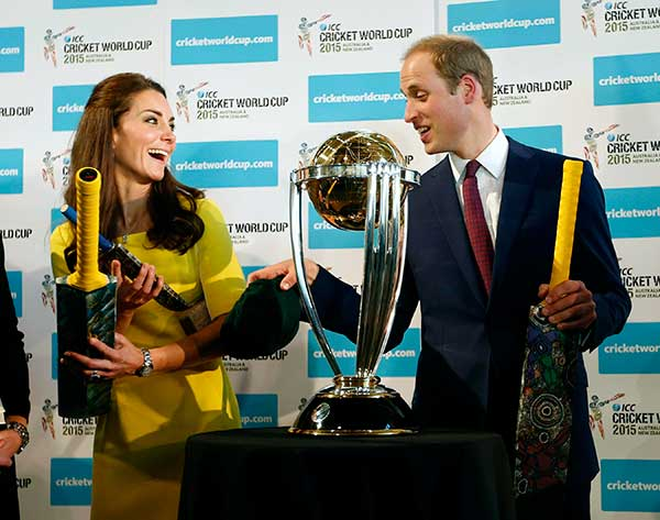 "<div class=""meta image-caption""><div class=""origin-logo origin-image ""><span></span></div><span class=""caption-text"">Britain's Prince William, right, and his wife Kate, the Duchess of Cambridge, hold cricket bats presented to them in front of the Cricket World Cup during a reception at the Sydney Opera House Wednesday, April 16, 2014. The royal couple, along with their son Prince George, are on a 10-day official visit. (AP Photo/Jason Reed, Pool)</span></div>"
