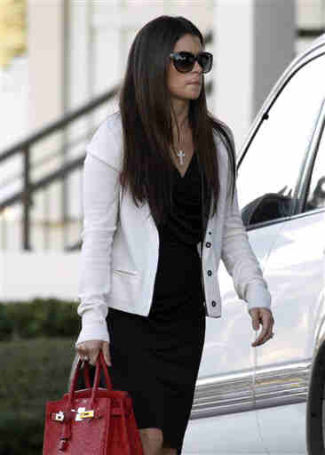 IndyCar driver Danica Patrick arrives for the funeral of fellow IndyCar driver Dan Wheldon, Saturday, Oct 22, 2011, in St. Petersburg, Fla. Wheldon was killed on Sunday, Oct. 16, 2011, in a fiery 15-car crash at the Las Vegas Motor Speedway. <span class=meta>( &#40;AP Photo&#47;Chris O&#39;Meara&#41;)</span>