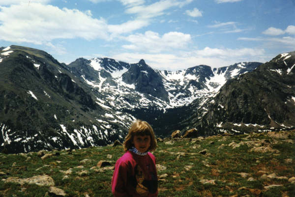 My daughter Samantha looking at snow in the summer.  This is Rocky Mountain National Park in Colorado, a great stop on the way to Yellowston from Denver.