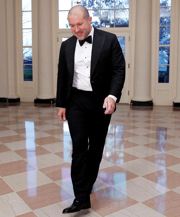 Jonathan Ive, British designer and senior vice president of industrial design at Apple Inc., arrives at the Booksellers area of the White House in Washington for the State Dinner hosted by President Barack Obama and first lady Michelle Obama for British Prime Minister David Cameron and his wife Samantha, Wednesday, March 14, 2012. (AP Photo/Charles Dharapak)