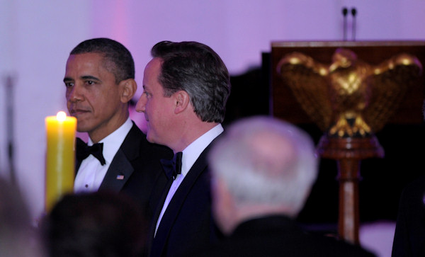 President Barack Obama and British Prime Minister David Cameron during a State Dinner at the White House in Washington, Wednesday, March 14, 2012. (AP Photo/Susan Walsh)