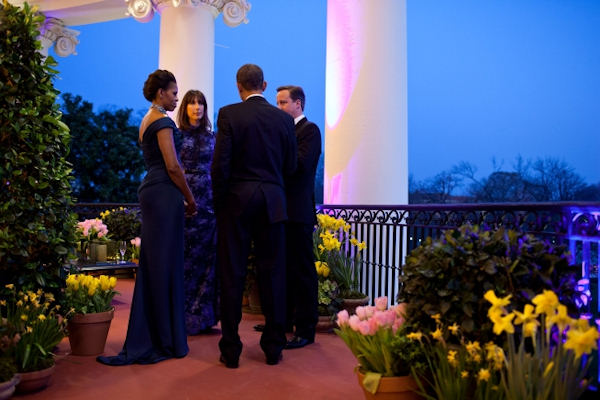 President Barack Obama and First Lady Michelle Obama talk with Prime Minister David Cameron of the United Kingdom and Mrs. Samantha Cameron on the Truman Balcony of the White House, March 14, 2012. (Official White House Photo by Pete Souza)