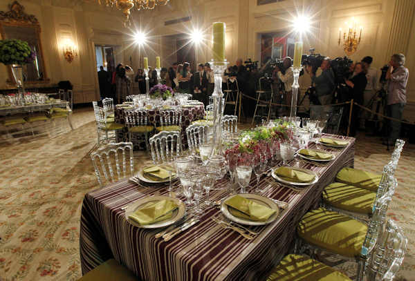 "<div class=""meta ""><span class=""caption-text "">Table settings in the State Dining Room of the White House in Washington, Wednesday, March 14, 2012, ahead of tonight's State Dinner hosted by President Barack Obama and first lady Michelle Obama for British Prime Minister David Cameron and his wife Samantha. (AP Photo/Pablo Martinez Monsivais)</span></div>"