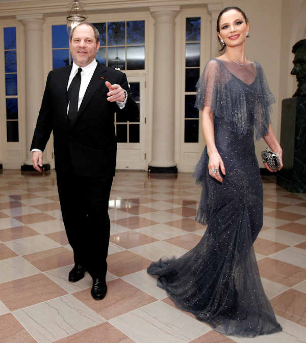 "<div class=""meta image-caption""><div class=""origin-logo origin-image ""><span></span></div><span class=""caption-text"">Hollywood film producer Harvey Weinstein walks with Georgina Chapman as they arrive at the Booksellers area of the White House in Washington for the State Dinner hosted by President Barack Obama and first lady Michelle Obama for British Prime Minister David Cameron and his wife Samantha, Wednesday, March 14, 2012. (AP Photo/Charles Dharapak)</span></div>"